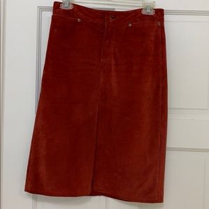 Red sued skirt